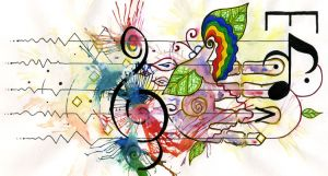 """mt_ignore: Emergently Musical"" by psilly, Ink & Watercolour on Paper, 15 x 28cm. (2010)"